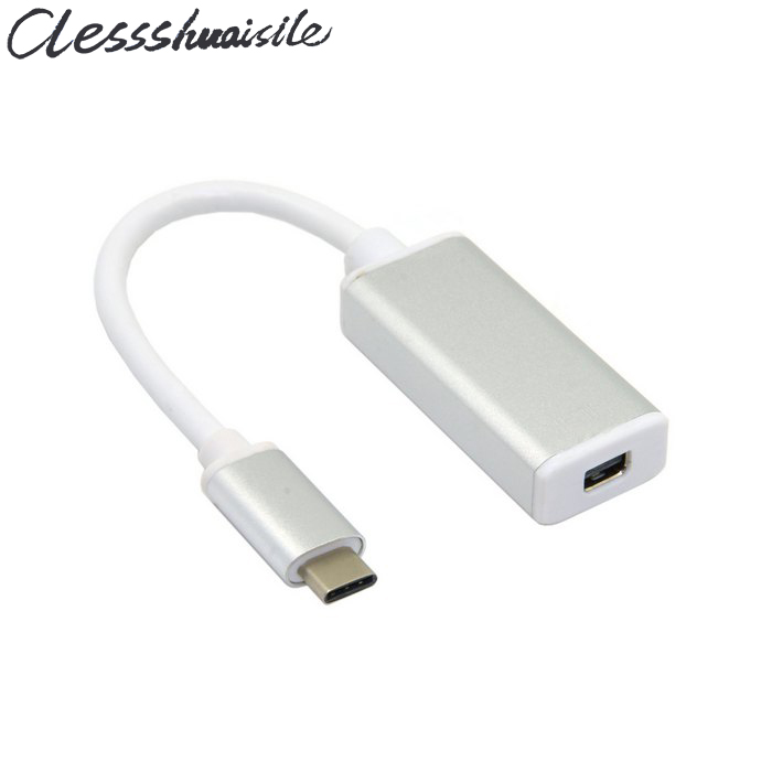 (100pcs/lot) USB-C USB 3.1 Type C to Mini DisplayPort DP 1080p HDTV Adapter Cable with Silver Gold Case for 2015 12 Inch Macbook