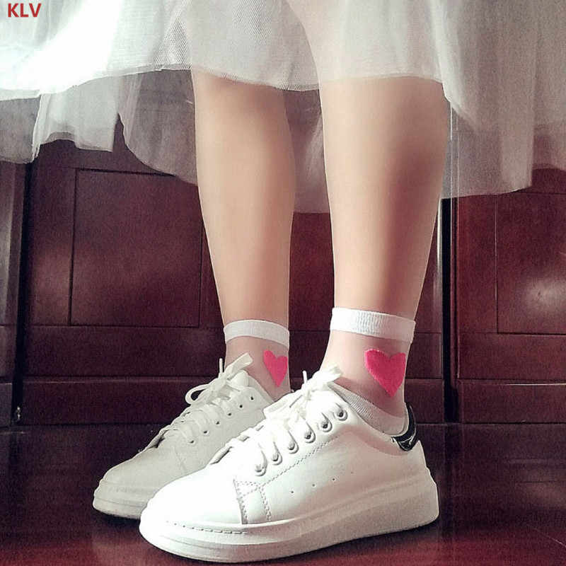 KLV Summer Love Heart Ankle Socks Women Girl Transparent Lace Cotton Casual Elastic
