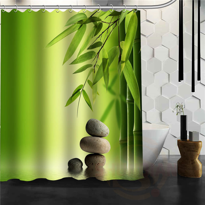 Hot Product modern Green bamboo Shower Curtain Pattern Custom Bath ...