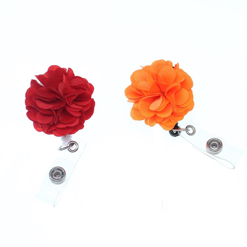 100 pièces rouge et orange fleur tissu rétractable ID Badge bobine/support pour cadeau/fête/infirmière