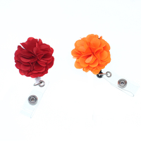 100pcs red and orange bloom fabric flower Retractable ID Badge Reel/Holder for gift/party/nurse