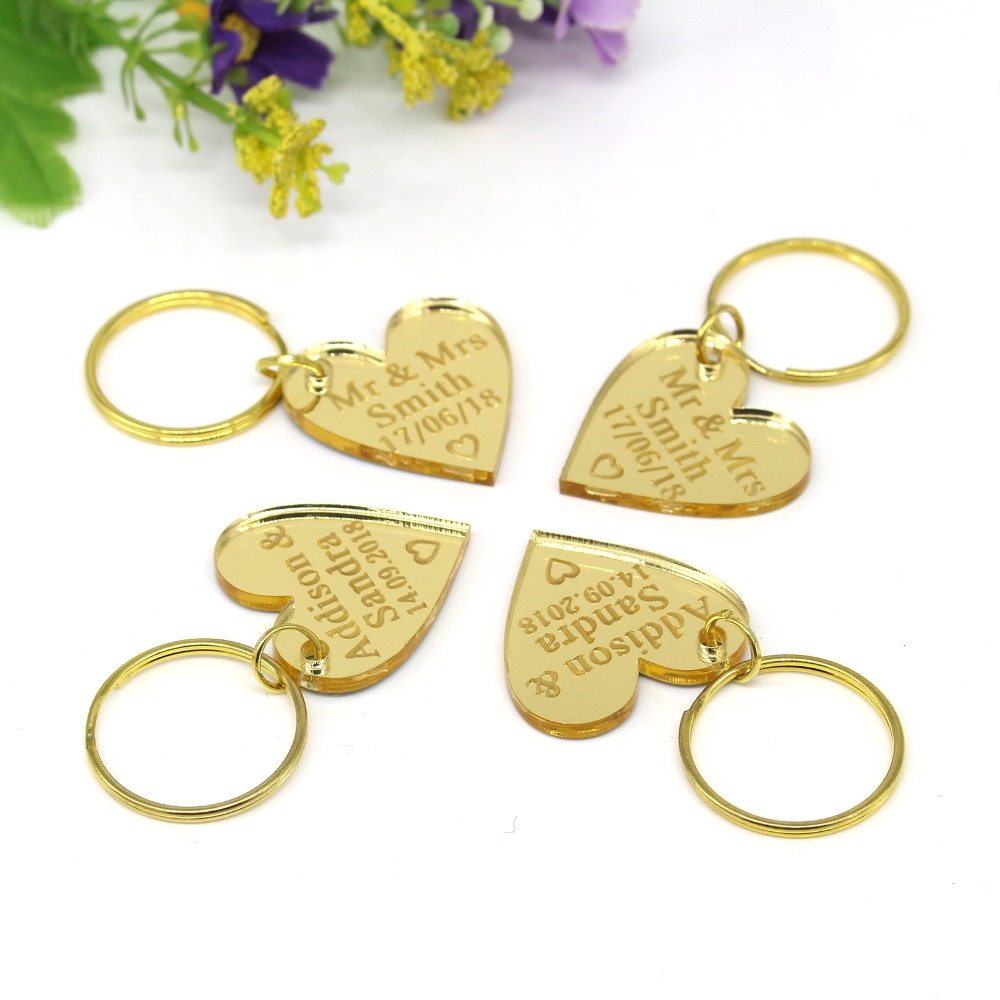 200 Pieces 40x40 mm Personalized Engraved Keyring Mr & Mrs Surname Gold Mirror Acrylic Love Heart Wedding Party Favors Key Chain