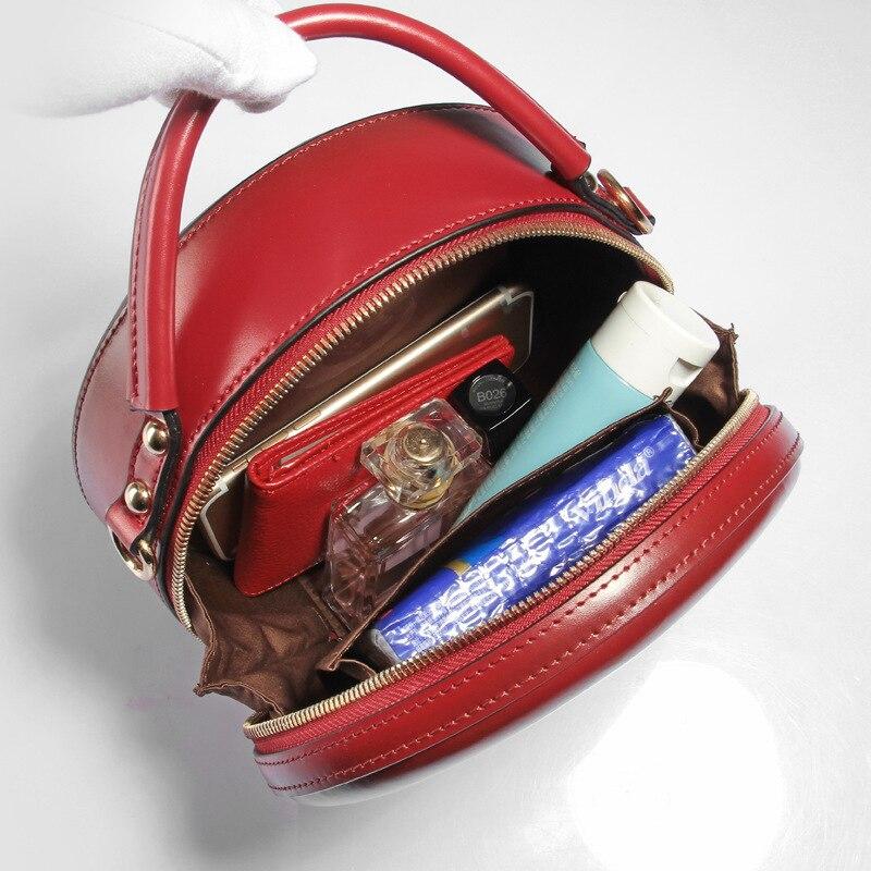 Célèbre marque Vintage femmes en cuir véritable sacs à main dames partie épaule bandoulière sacs Designer de mode femme Mini sac rond-in Sacs à bandoulière from Baggages et sacs    3