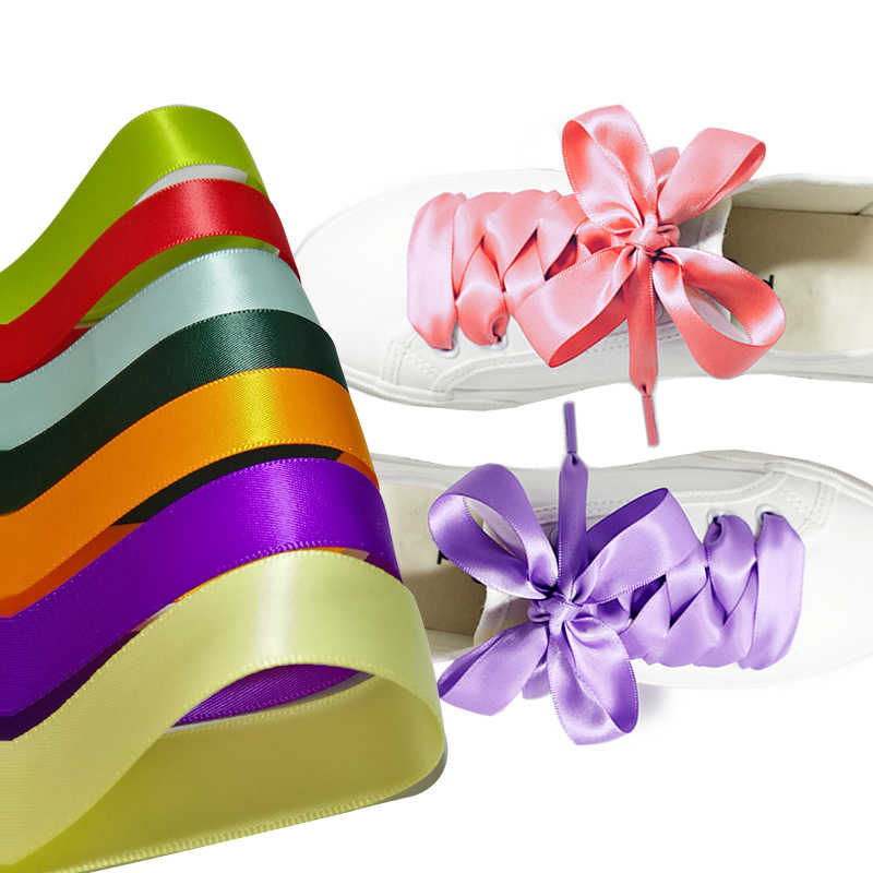 1Pair 2CM Width Satin Silk Ribbon Shoelaces Canvas Shoe Lace Many Colors 120CM Length Fashion Sneakers Shoe Laces