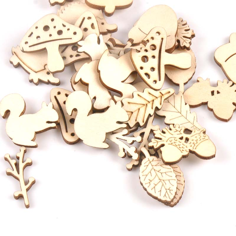 Mistura de cogumelo/ouriço/esquilo/pinho cones/folhas padrão madeira ornamento para scrapbooking diy carfts decoração para casa 20 peças m2154