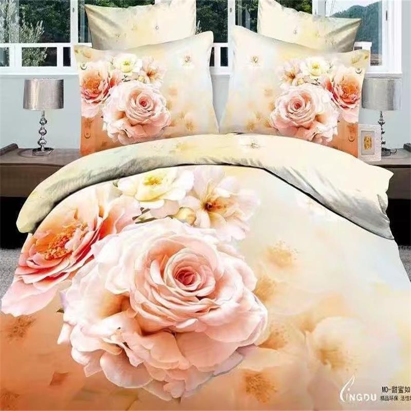 3d Rose Flowers Bedding Set Queen Size 100% Cotton Printed Fabric Duvet Cover Bed Sheet with Pillowcase Home Textiles3d Rose Flowers Bedding Set Queen Size 100% Cotton Printed Fabric Duvet Cover Bed Sheet with Pillowcase Home Textiles