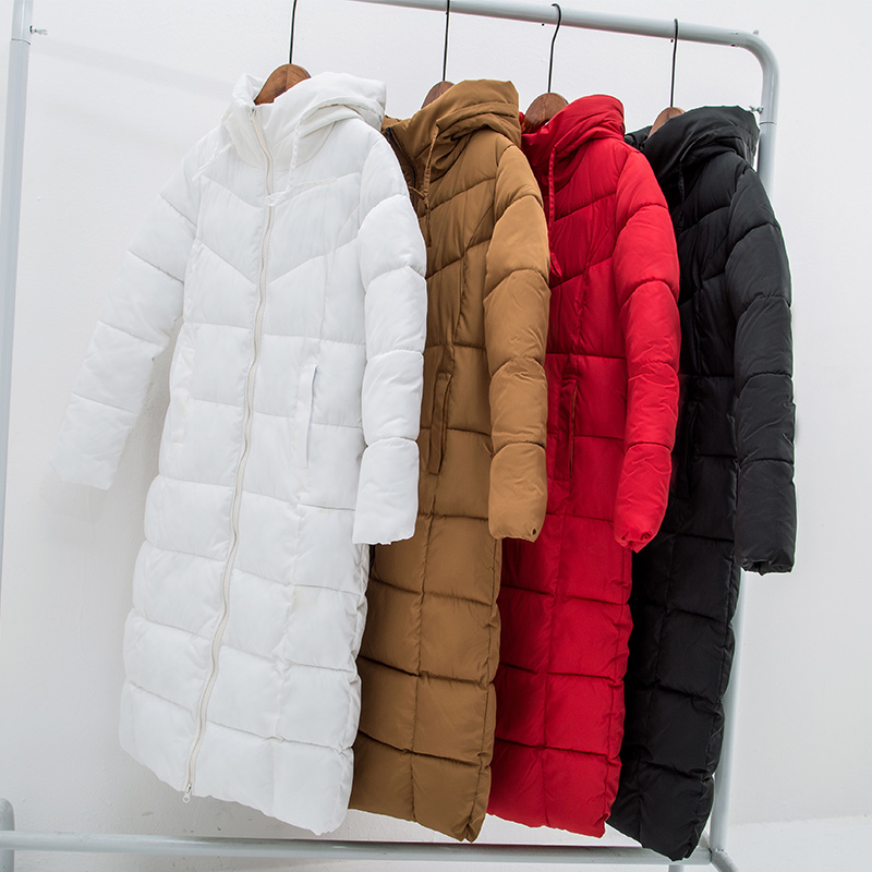 winter women Long   parkas   solid thick warm hooded slim styled jackets cotton padded sintepon   parkas   coat for female plus size