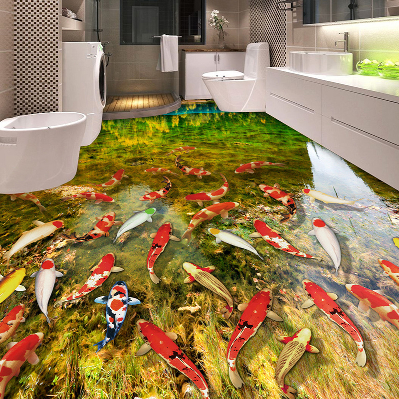HD River Carp Nature 3D Flooring Wallpaper Bathroom Kitchen Wear Non-slip Waterproof Thickened Self-adhesive 3D Mural Wall Paper