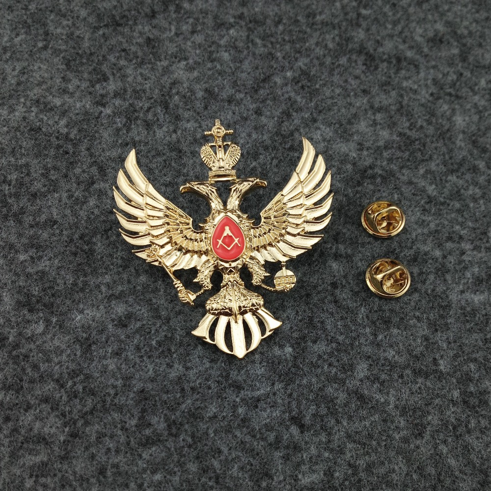 US $6 63 15% OFF|Russian masonic double head eagle badge, plating gold  Freemason badges pin Russia mason medals, CCCP Brooches-in Pins & Badges  from
