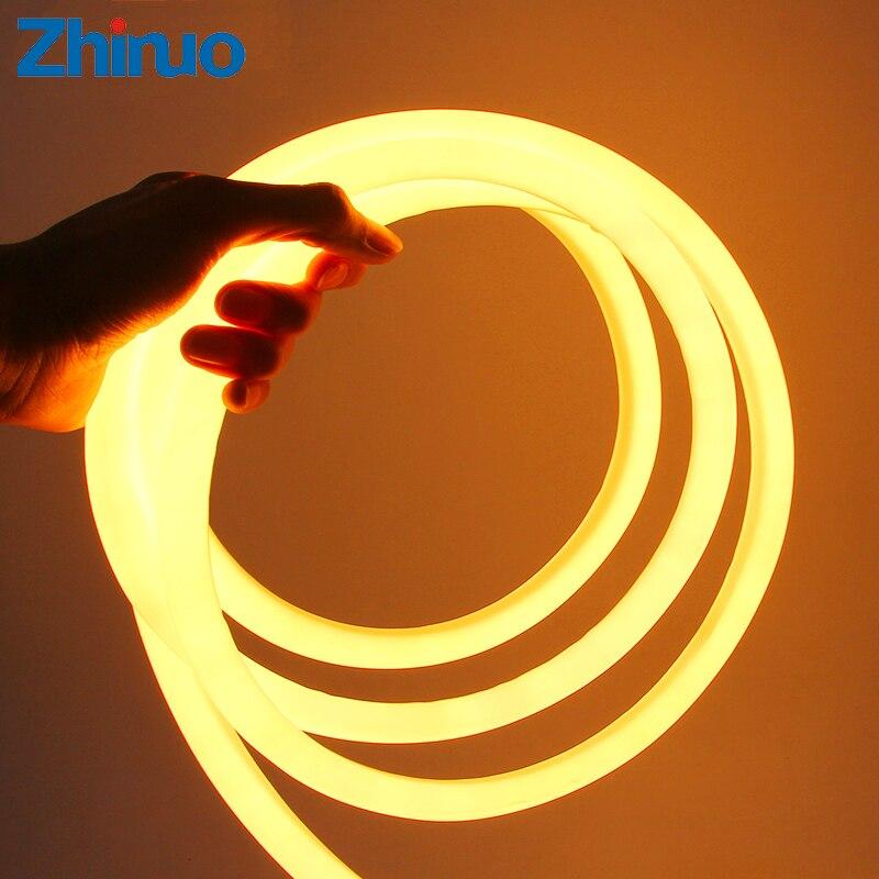 Led Neon Tube LED Strip 360 Round AC 220V 230V 240V SMD2835 Flexible Neon Strips With Power Plug Decorative Lights 1-10m 15m 20m