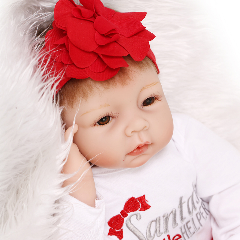 22 Inches 55CM Lovely Silicone Reborn Baby Dolls Realistic Handmade bebe alive reborn Doll For Girls Safe Classic Toys