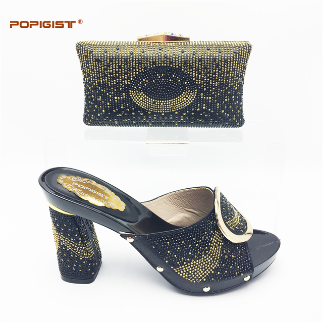 d0b664ae0f7 Ladies Shoes And Bag Set black color good quality Fashion design with Rhinestone  Party African popular shoes and bag set summer