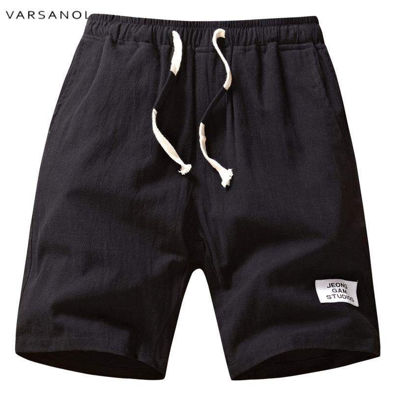 Varsanol Brand New Arrival Mens Shorts Summer Cotton Man Shorts 2018 Mid Solid Elastic Waist High Quality Male Shorts Hot Sales