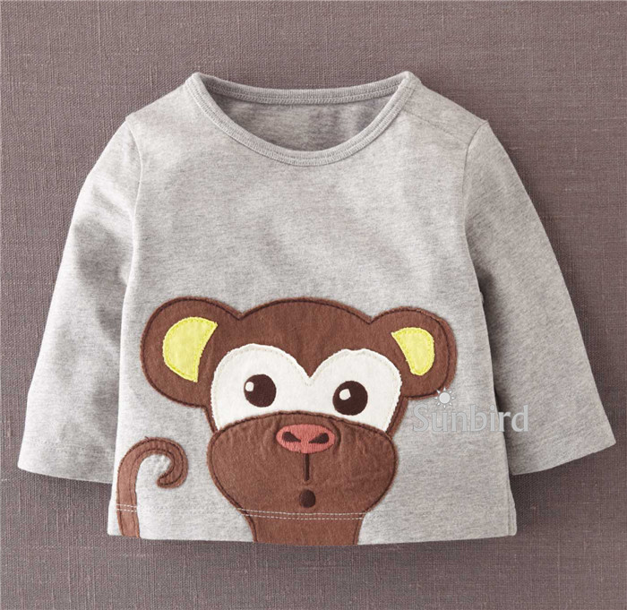 Boys T-Shirts Cartoon-Top Long-Sleeve Baby Children Monkey Cotton for 1-6 Year. BJT281