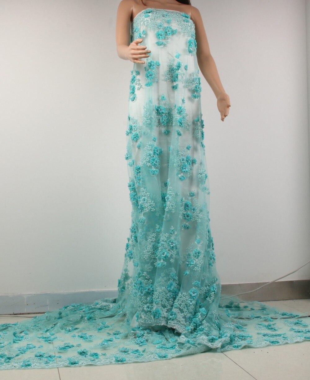 Off Blanco/Rosa 3D flores Perlas de malla/malla bordada boda ...