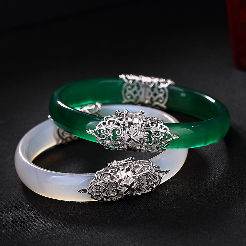 Jade bangles 925 sterling silver mosaic Chalcedony pure luster women bangles palace jewelry classic elegant design
