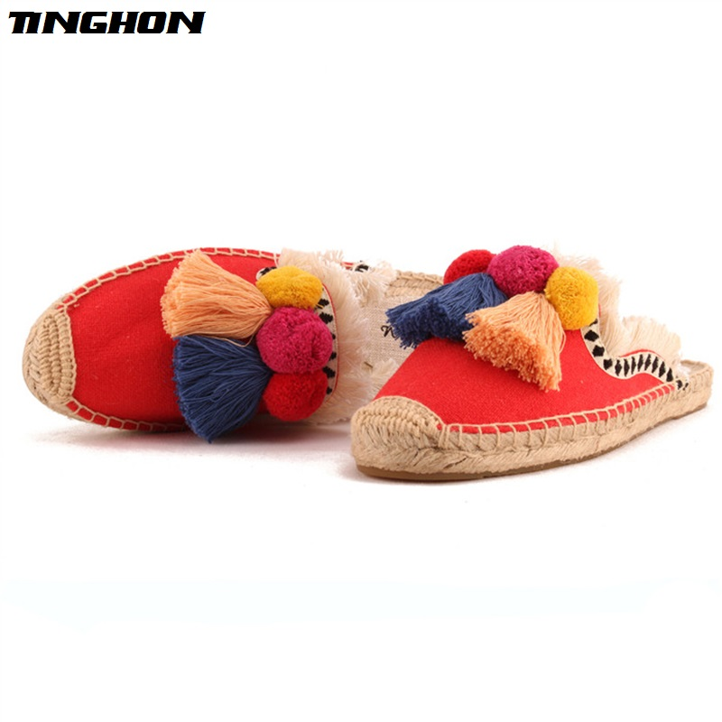 TINGHON-NEW-Summer-Linen-Flax-Cork-Women-Slides-Hand-made-Slippers-Tassels-Triple-Chuzzle-Fishermen-Shoes
