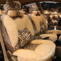 Universal size suitable 5 seats leopard print car winter seat cuhion cover set Car seat cover supports cushion pad 10PCS/Set