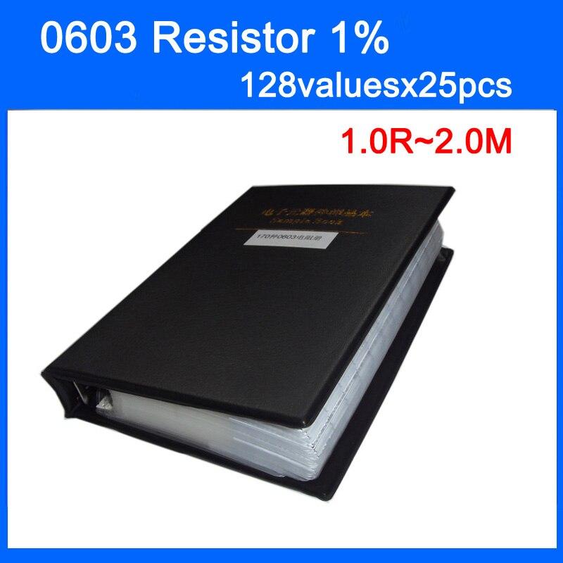 Новый 0603 SMD резистор 128valuesx25pcs = 3200 шт. книга образца 1% Допуск E96 E24 серии Резистор Комплект 1.0R ~ 2.0 м