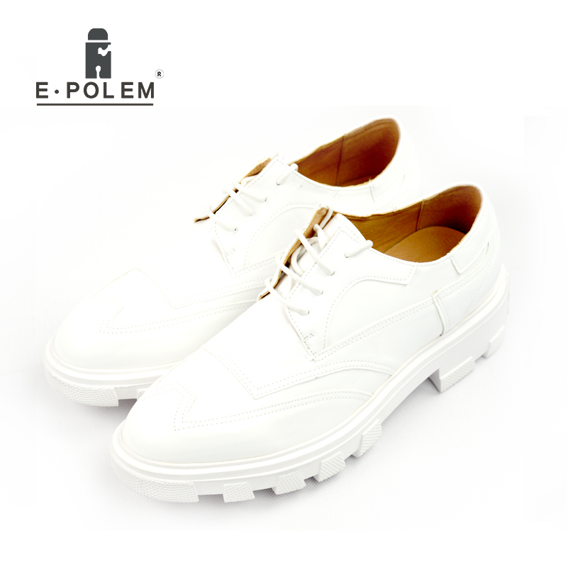 2017 Leather Men Brogue Shoes Fashion Wedding Dress Shoes for Men Black White Casual Oxford Party Dress Platform Shoes stylish tiny flowers print wedding casual party white tie for men