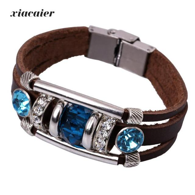 Xiacaier Punk Vintage Leather Bracelets For Men Women Wristband Female Leather  Bracelet Blue Stone Silver Color Men Jewelry New 0244fa3aa3