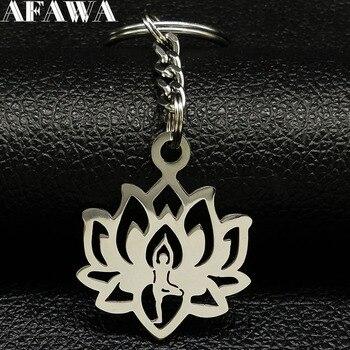 Llaveros de acero inoxidable con diseño de loto para Yoga a la...