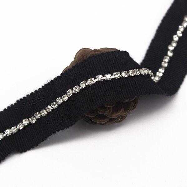 Perle cristal strass noir bordure en appliqué bande dentelle tissu ruban coupe couture accessoires renda pour vêtement 20yd/T1296