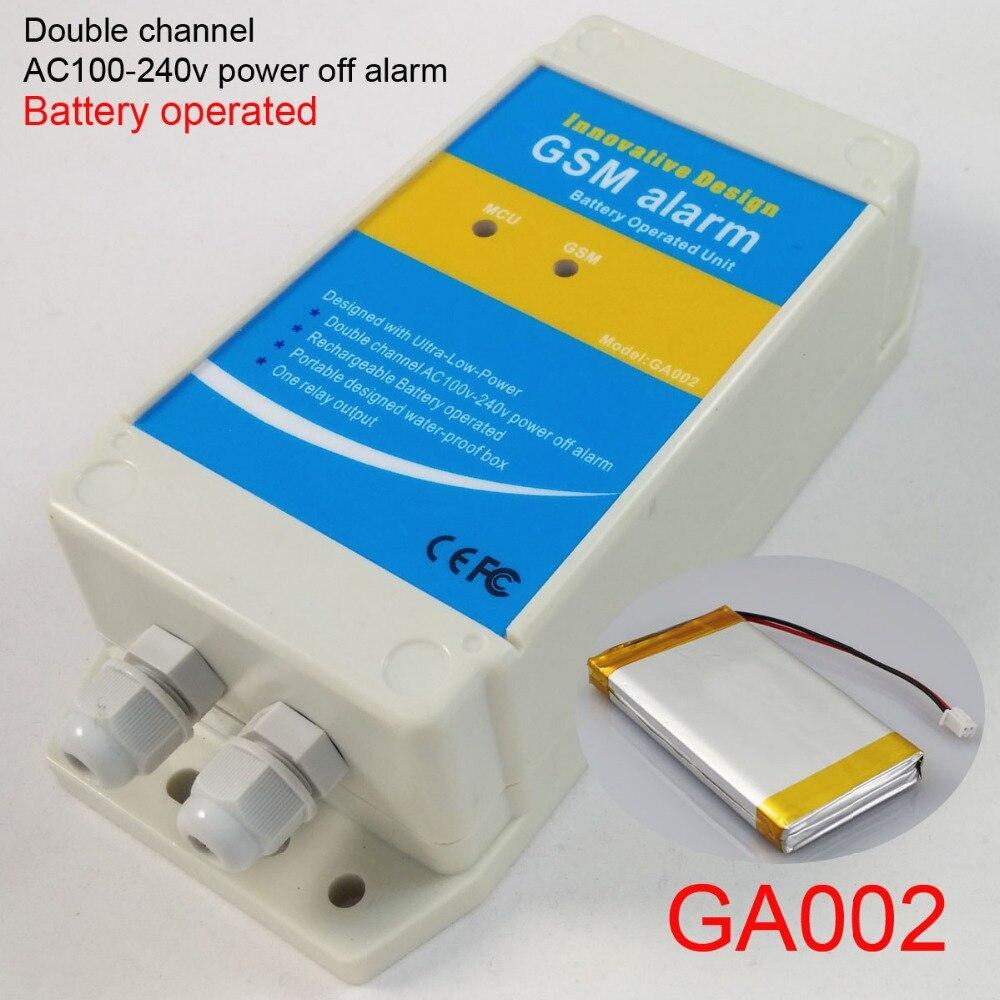 Livraison gratuite batterie rechargeable alimenté alimentation secteur ca off alarme alarme gsm boîte, Double entrée d'alarme