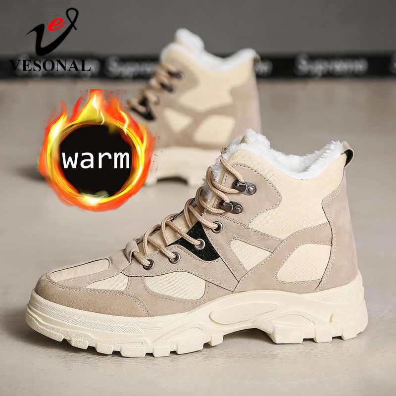 VESONAL/Новинка 2019 года; сезон осень-зима; модные зимние мужские ботинки с мехом; плюшевые теплые мужские модные повседневные ботинки; кроссовки