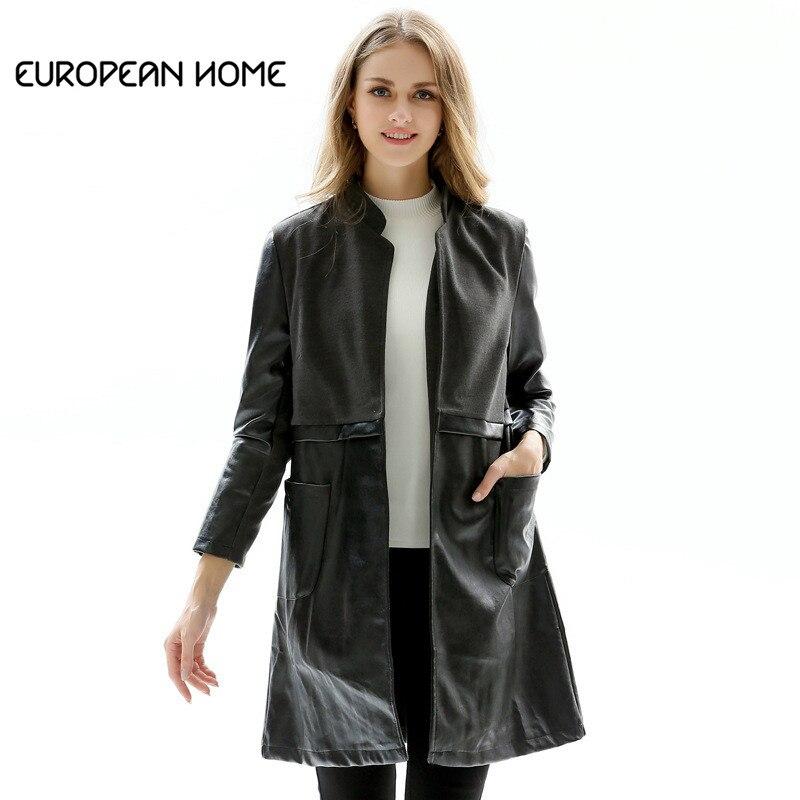 2019 Spring Autumn New PU   Leather   Women Fashion Retro Black Long Plus size Collar Slim Long-sleeved Woollen Splicing Coat LR333