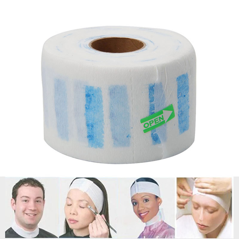 Durable Barber Salon Disposable Waterproof Elastic Neck Strip Paper Tissue Band Rolls