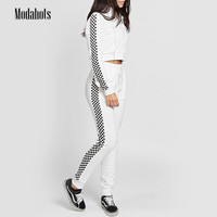 Women Two Piece Sets Spring Track Suit Tops Cropped Zip Up Hooded and Long Pants White Checkerboard Patchwork Sweatshirt Hoodie