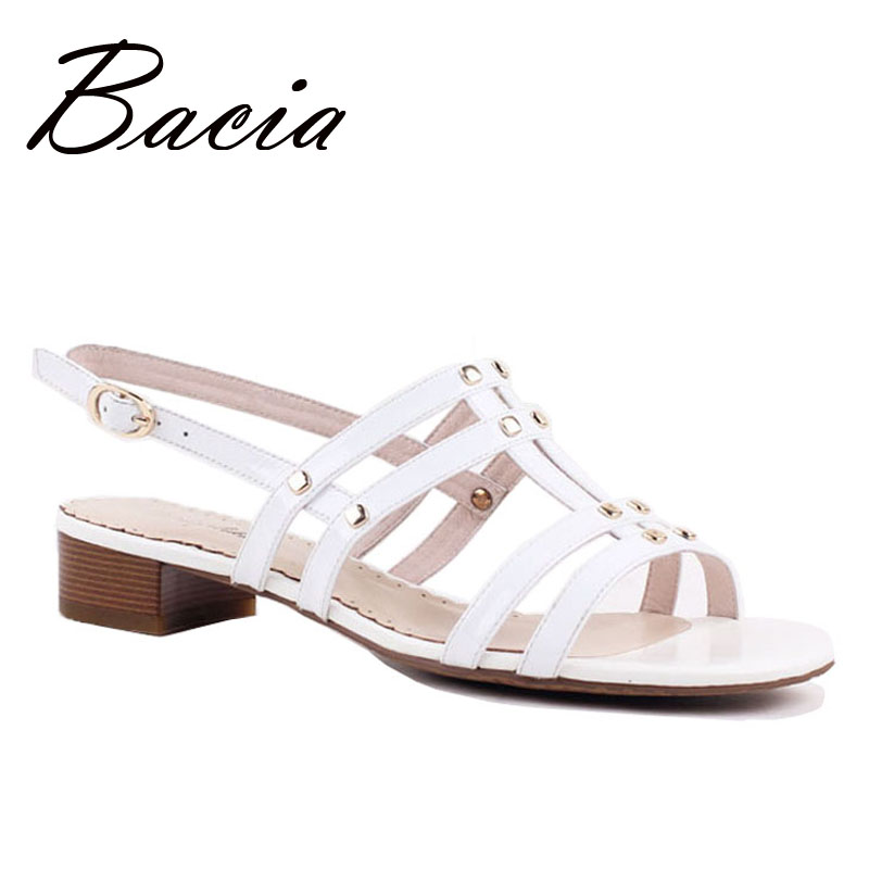 ФОТО Bacia Pure Elegant Solid White Leather Sandals with Sequined Summer Fashion High Quality Handmade Ladies Sandalias Mujer VD009