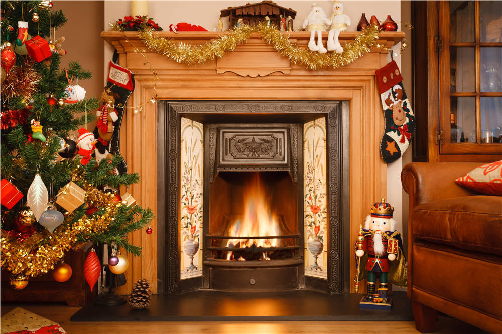 Fireplace Photo Backdrops Christmas Trees Vinyl Santa Claus Photography Background 7x5ft or 5x3ft christmas035 inflatable cartoon customized advertising giant christmas inflatable santa claus for christmas outdoor decoration