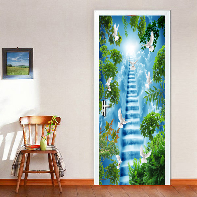 High-definition Landscape Ladder 3D Door PVC Waterproof 3D Wallpaper Living Room Bedroom Door Decoration Stickers Door MuralHigh-definition Landscape Ladder 3D Door PVC Waterproof 3D Wallpaper Living Room Bedroom Door Decoration Stickers Door Mural