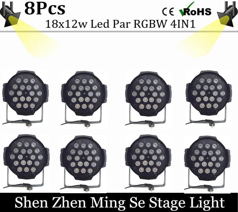 New Store 8Pcs/lots  18x12w led Par lights RGBW 4in1led dmx512 disco lights professional stage dj equipment fast russia shipping 7x12w led par lights rgbw 4in1 flat par led dmx512 disco lights professional stage dj equipment