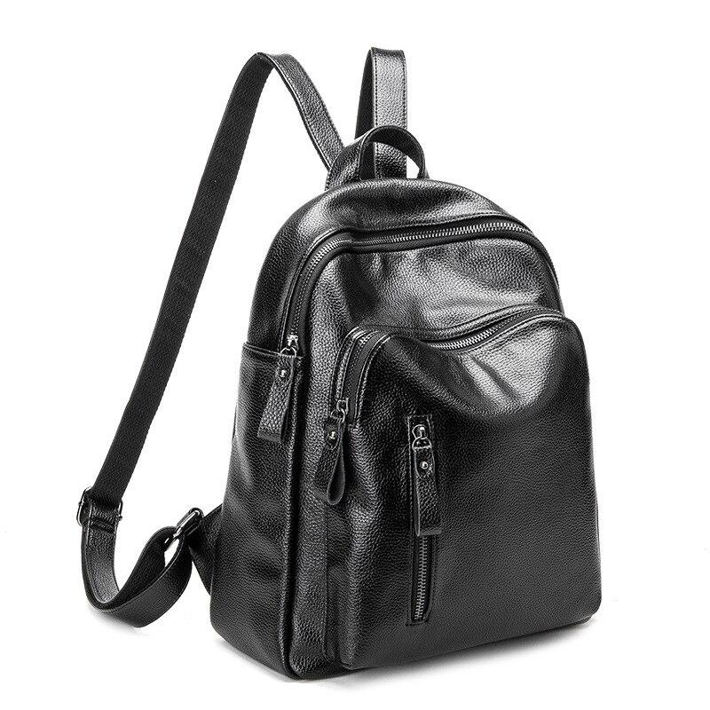2018 nueva mochila de cuero Vintage para mujer bolso de hombro mochila suave de gran capacidad para mujer Mochila De Cuero genuino moda C691