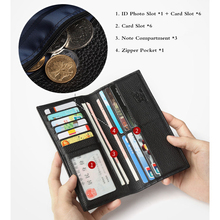 BISON DENIM Genuine Leather Wallet Male Slim Men's Luxury Long Clutch Black Card Slot Money Bag Male Purse N4391-5