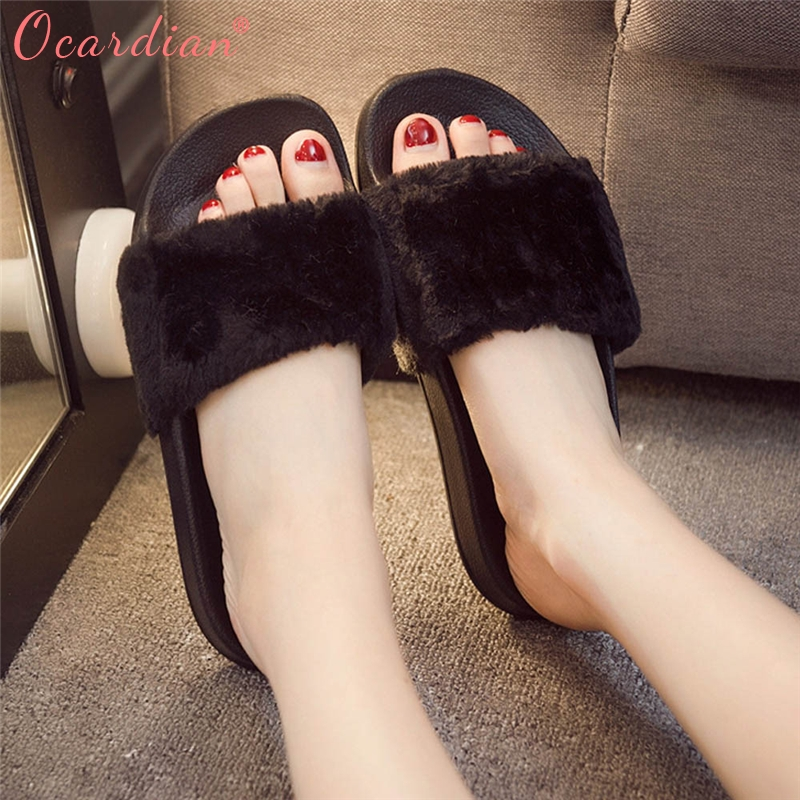2018 Womens Ladies Slip On Sliders Fluffy Faux Fur Flat Slipper Flip Flop Sandal Optional Size flower print flat sliders