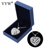 925 Sterling Silver Jewelry Rhinestone Charm Crystals Heart Necklace Pendant Fit Link Chain Necklace for Women Mother's Day Gift
