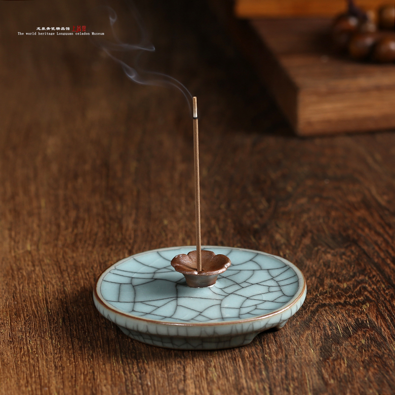 Longquan celadon incense sandalwood incense burner furnace line pomander horizontal ceramic incense burner incense plug energy saving electronic incense incense censer ceramic electric thermostat burning incense incense powder sawdust
