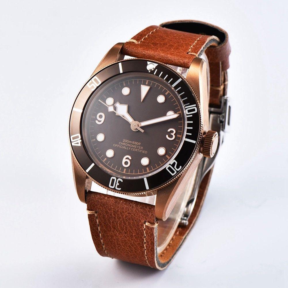 41mm laiton PVD enduit boîtier saphir verre stérile café cadran mâle horloge marque de luxe lumineux hommes montre automatique