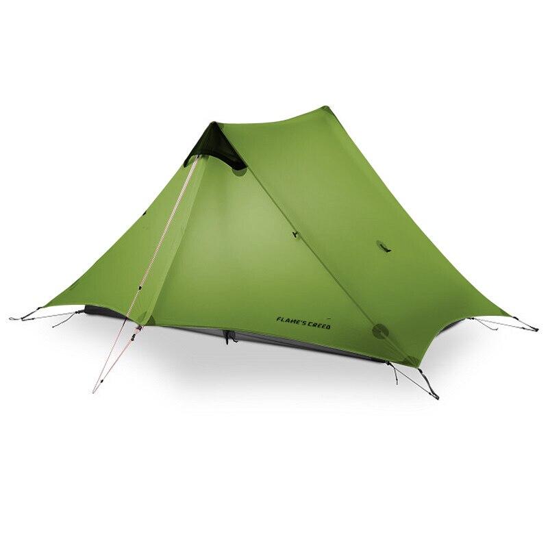 2018 LanShan 2 FLAME'S CREED 2 человек Oudoor Сверхлегкий Палатка 3 Сезон Профессиональный 15D Silnylon бесштоковый палатка