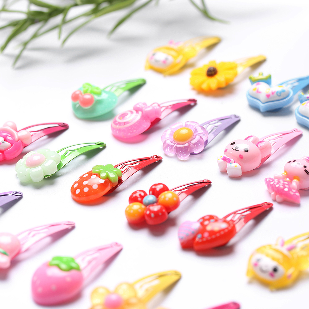 10Pcs/Lot Random Styles Flower Cartoon Hairpins Lovely Kids Girls Hair Clips Barrettes Multicolor Hair Band Accessories 3CM