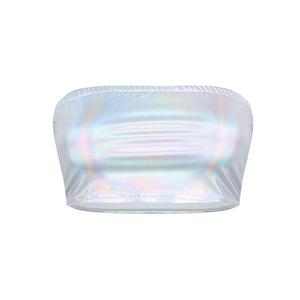 Image 3 - 光沢のあるシルバーホロマルチ色デザインタンクトップスファッションストラップレスのチューブトップクロップトップ女性のセクシーなクラブキャミソール