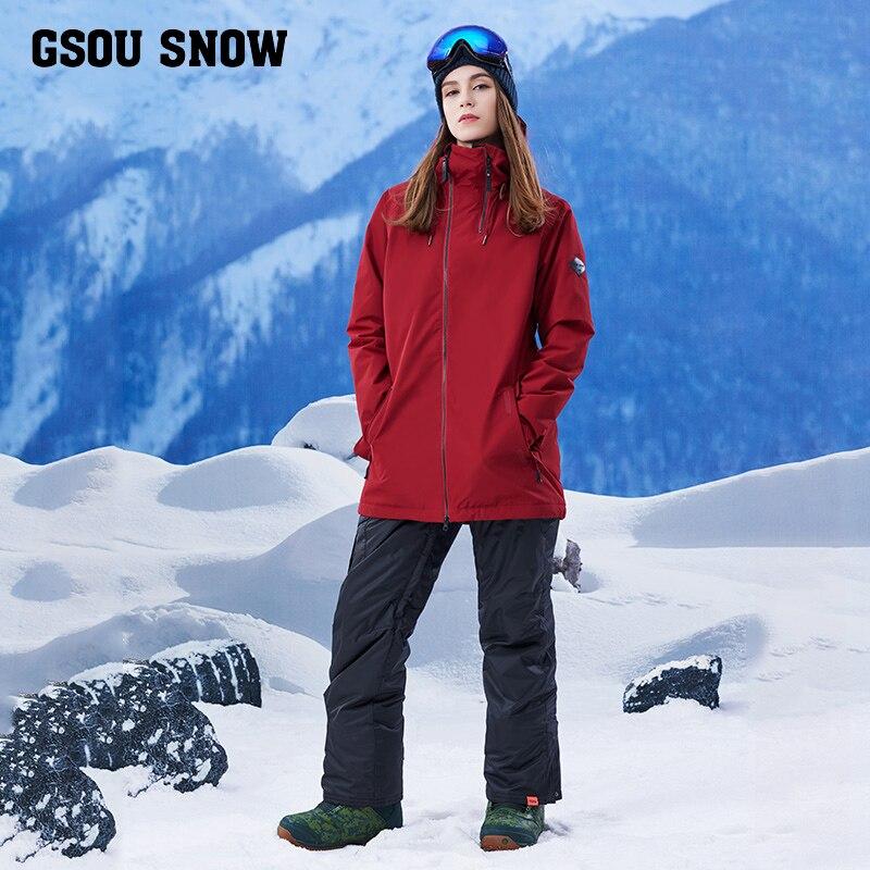 2017 nouvelles filles combinaison de ski femme costumes longue pure chaude et coupe-vent imperméable combinaison de ski femme costume de ski