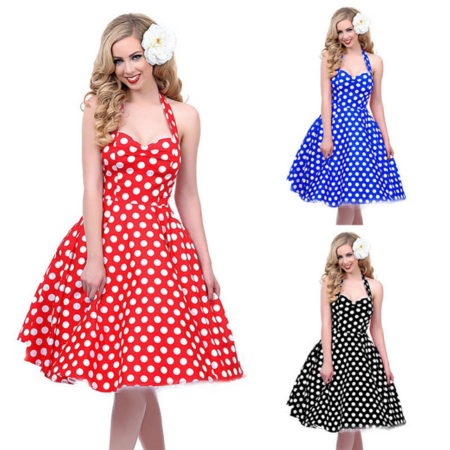 f5f2bed39c64 Vintage Hepburn Style Retro Dress 1950s 60s Housewife Pinup Rockabilly  Polka Dot Swing Ball Grown Party Robe Dresses