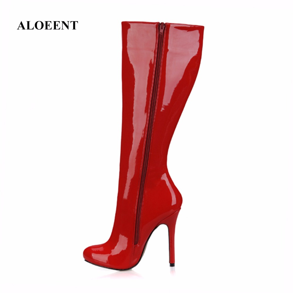 ALOEENT Patent Leather Slim Boots Sexy Knee High Women Boots Womens Fashion Winter Thin High Boots Winter Shoes ...