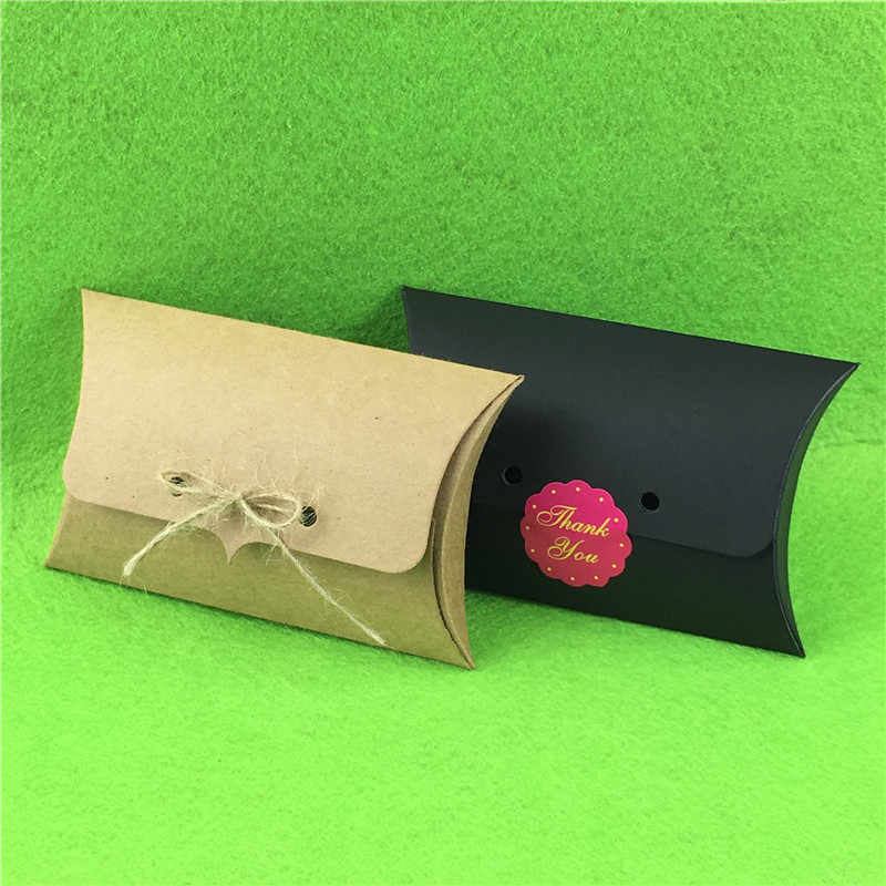 30Pcs/Lot Black Pillow Shape Blank Paper Box With Free Stickers Or Strings 12.5x8x2.5cm Jewelry Carry Cases Gift Package Boxes