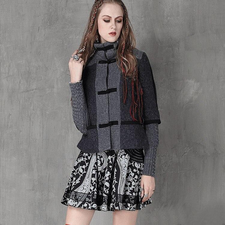 2016 Pièces Faux Plaque Survêtement Court Femme Patchwork Boutons Modèle Vêtements Vintage Tricoté Laine Deux Akkadien Col Pied De wBqH6IaAx